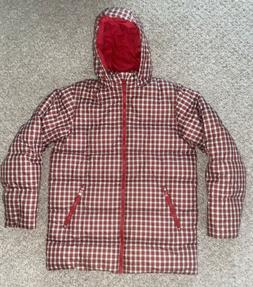 LANDS' END WOMENS RED PLAID DOWN PUFFER WINTER COAT JACKET S