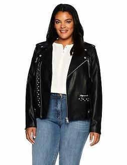 Levi's SZ Women's Plus Faux Leather Studded Motorcycle Jacke