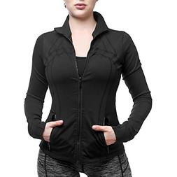 Yunoga Women's Lightweight Athletic Full Zip Running Yoga