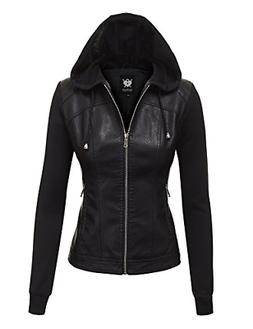 Lock and Love LL WJC1347 Womens Faux Leather Zip Up Moto Bik