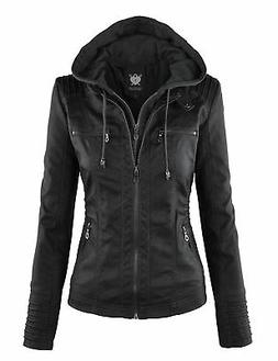 Lock and Love LL Womens Hooded Faux leather Jacket Wjc663_bl