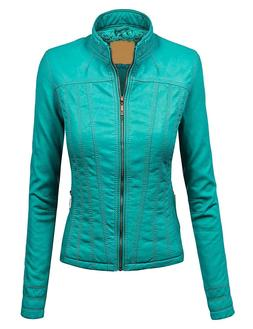 Lock and Love LL Womens Faux Leather Zip Up Bomber Jacket wi