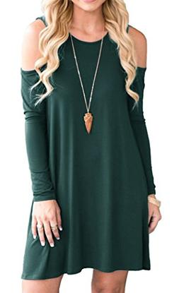 QIXING Women's Long Sleeve Cold Shoulder A-line Flare Casual
