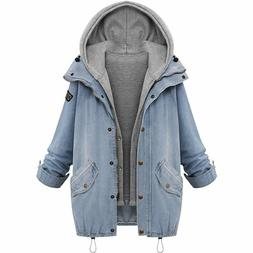 Loose Hooded Cowboy Jacket For Women Plus Size Two Denim Lad