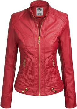 Made By Johnny MBJ Womens Faux Leather Zip Up Moto Biker Jac