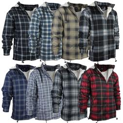 Men's Heavy Fleece Lined Sherpa Hoodie Plaid Flannel Jacket
