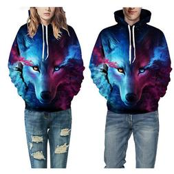 Men Women's 3D Wolf Print Hoodie Jacket Pocket Jumper Hooded