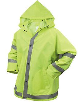 Mens Reflective Safety Jacket Rain Coat Hooded Hoodie Green