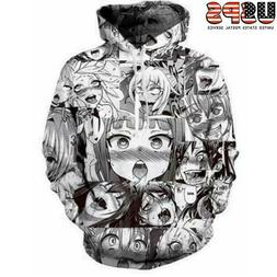 Mens Womens Anime Ahegao Funny 3D Print Pullover Cool Hoodie