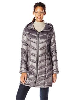 Calvin Klein Women's Mid Length Packable Chevron Down Coat,