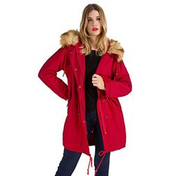 mewow Womens Mid-Length Thick Slim FIt Parka Jacket, Cotton