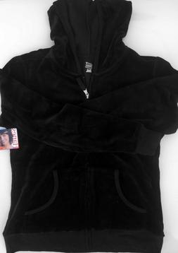 Missy Hanes Womens Hooded Full Zip Velour Jacket Deep Black