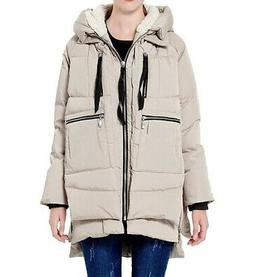 Orolay NEW Beige Womens Size XL Hi-Low Hooded Zip-Detail Jac