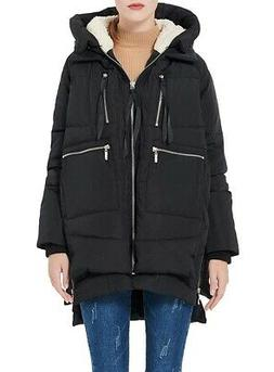 Orolay NEW Black Women's Size XL Thickened Down Zip Hooded J