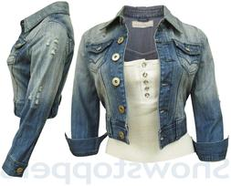 NEW DENIM JACKET Womens Jean Jackets LADIES Cropped Waistcoa