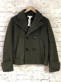 NEW!! H&M Womens Wool Blend Peacoat Jacket Olive Green Black