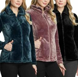 NEW 32 Degrees Heat Women's Fleece Plush Faux Fur Jacket-VAR