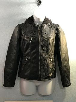 NEW~Hooded Faux leather Jacket Black, Sz XXL~ LOCK AND LOVE~
