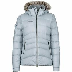 NEW MARMOT ITHACA HOODED JACKET WOMENS SILVER DOWN INSULATED