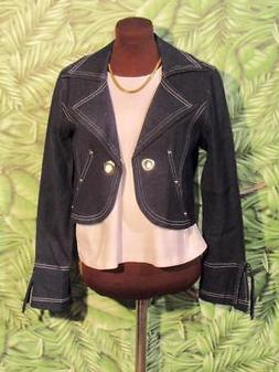 NEW BALI Jacket Cotton Spandex Dark Blue Jean Women M