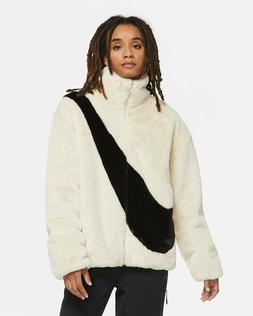 【New】Nike NSW Sportswear Womens Faux Fur Jacket Fossil W