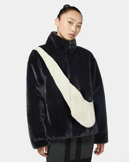 【New】Nike NSW Sportswear Womens Faux Fur Jacket Black Fo