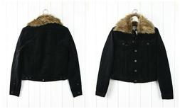 NEW LEE  RIDER SHERPA BLACK LINED WOMAN JACKET REMOVABLE COL