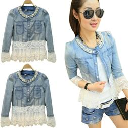 New Women Denim Jacket Beaded Lace Jeans Ladies Casual Faded