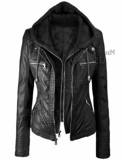 New Women's Black Stylish Real Leather Hoodie Jacket - Detac