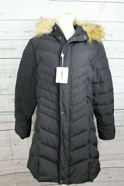 NEW Orolay Women's Down Jacket with Faux Fur Trim Hood Black