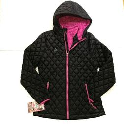 Reebok NEW Women's Quilted Jacket Full Zip Black Insulated L