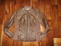 NEW Womens SEBBY COLLECTION Whisky Brown Faux Leather Jacket