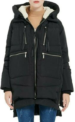 New Orolay Womens Down Hooded Coat Jacket Black Sz Small
