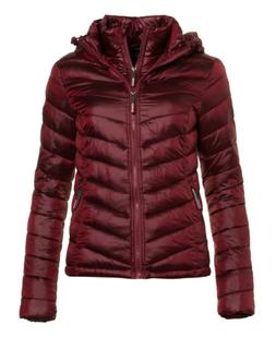New Womens Superdry Fuji Chevron Hood Jacket Signal Maroon M
