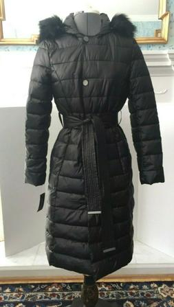 NEW! Kenneth Cole Womens Long Puffer Coat Hooded Black Faux