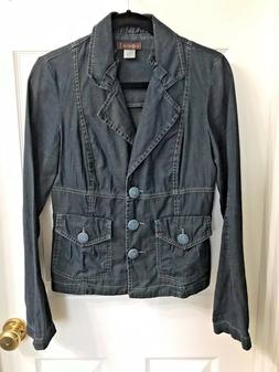 NEW womens XCVI size M Medium blue denim jacket blazer coat