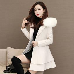 New Womens Winter Wool Double Breasted Peacoat Fur Hooded Ja
