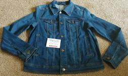 New Wrangler Wrancher Womens Small Blue Button Down Jean Jac