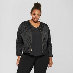 NWT Ava & Viv Women's Plus Size Black Quilted Lightweight Ja