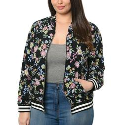 NWT Black Floral Zip Bomber Jacket Womens Plus Size 1X 2X 3X