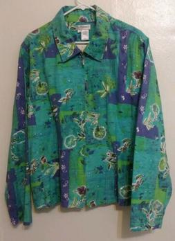 NWT Coldwater Creek Green Purple Floral Sequin Embroidered W