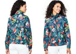 NWT LANDS' END Womens Floral Hooded Windbreaker Rain Jacket