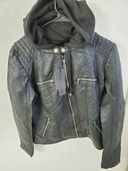 NWT Lock and Love Women's Removable Hooded Faux Leather Moto