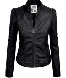 NWT-Made By Johnny MBJ BLACK FAUX LEATHER BIKER CHIC MOTO ZI