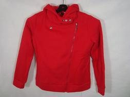 NWT NEW Tom's Ware Womens Red Cotton Hoodie Moto Jacket Coat