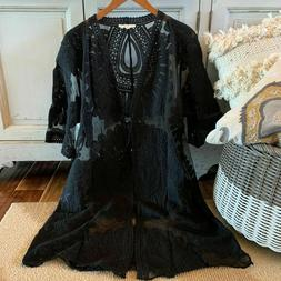 NWT Womens Black Eyelet Lace Kimono Maxi Duster Jacket Top P