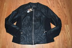 NWT Womens SEBBY COLLECTION Black Faux Leather Jacket Coat S