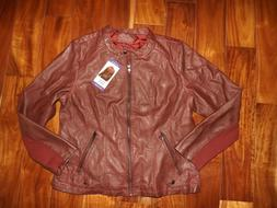 NWT Womens SEBBY COLLECTION Red Faux Leather Jacket Coat Siz