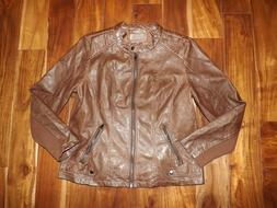 NWT Womens SEBBY COLLECTION Whisky Brown Faux Leather Jacket