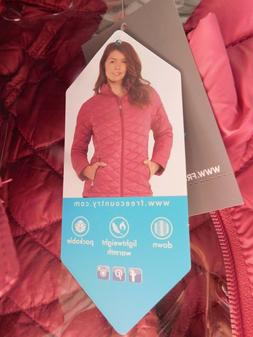 NWT Womens Free Country Faded Rose Packable Down Quilted Jac